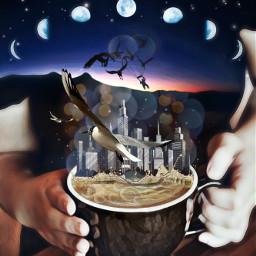 freetoedit internationalcoffeeday doubleexposure editedbyme surrealism