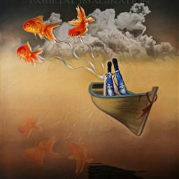 freetoedit floatingboat boat surreal reflection ircdefinitelydenim