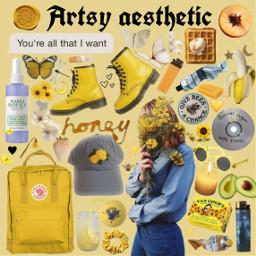 freetoedit moodboard aesthetic artsy yellow