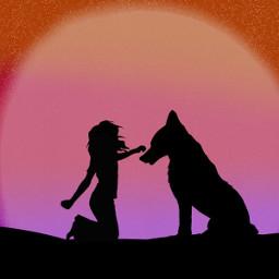 freetoedit wolf girl sunset peace dcmydreamland