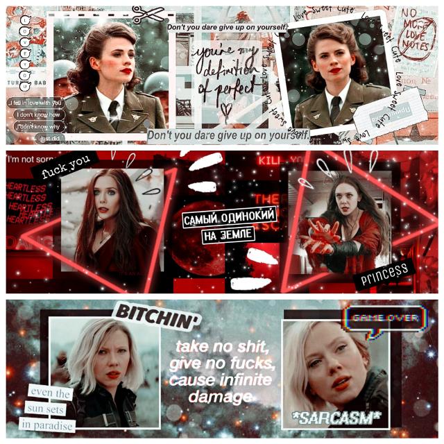 3 headers of Marvel's Girls✌♥️  #blackwidow #scarletwitch #agentcarter #natasharomanoff #wandamaximoff #peggycarter #Natasha #Wanda #Peggy #Romanoof #maximoff #carter #Marvel #Girl #girlspower #hero #heroína #viudanegra #brujaescarlata #agentecarter #shield #superhero #infinitywar #comic #marvelgirls #header #power #female #femalepower #scarlettjohansson #elizabetholsen #hayleyatwell #freetoedit