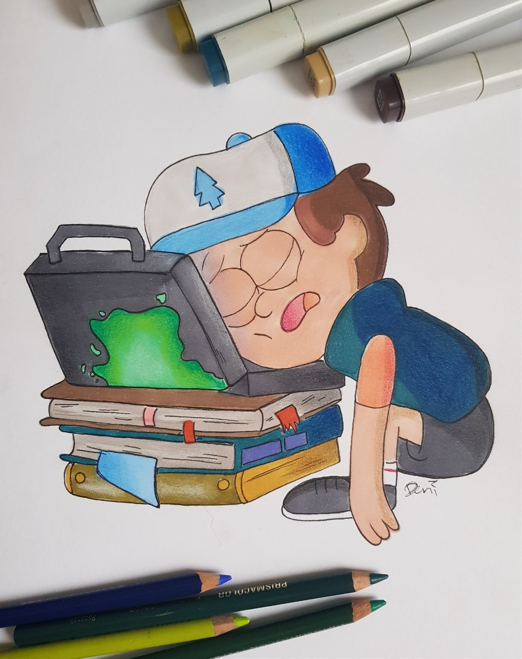 Day 7: #Exhausted  #inktober #inktober2018 #drawing #art #gravityfalls #dipper #copicmarkers #prismacolorpencils #dipperpines  #freetoedit