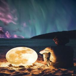 freetoedit surreal moon beach human ircauroraborealis