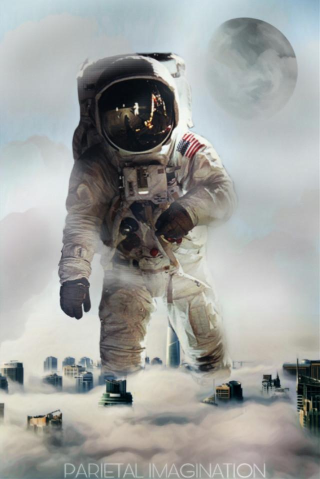 Edit by: Parietal Imagination Art NON-CHALLENGE #cloud #astronaut #moon #magicfx #artisticfx #buildings #freetoedit  #modernity