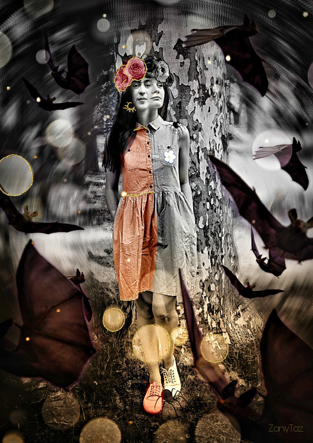 #Halloween 🎃 #spell 🌿👑 #splitpersonality #frida #fridakahlo #unibrow_queen #unibrowmovement #frida-kahlo #kahloism #goldbrush #batsbrush