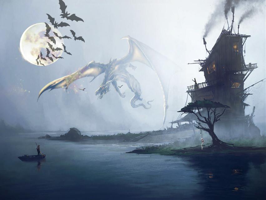 #freetoedit #halloween #spooky #bats #picsart #remix #dragon #people #sea