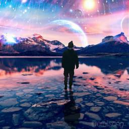 freetoedit space galaxy meteorshower man ircintothehauntedforest