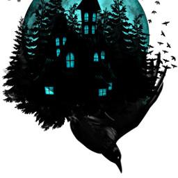 freetoedit huntedhouse crow spooky dark