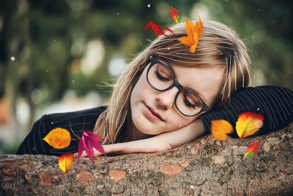 #freetoedit #girl #leaves #lines