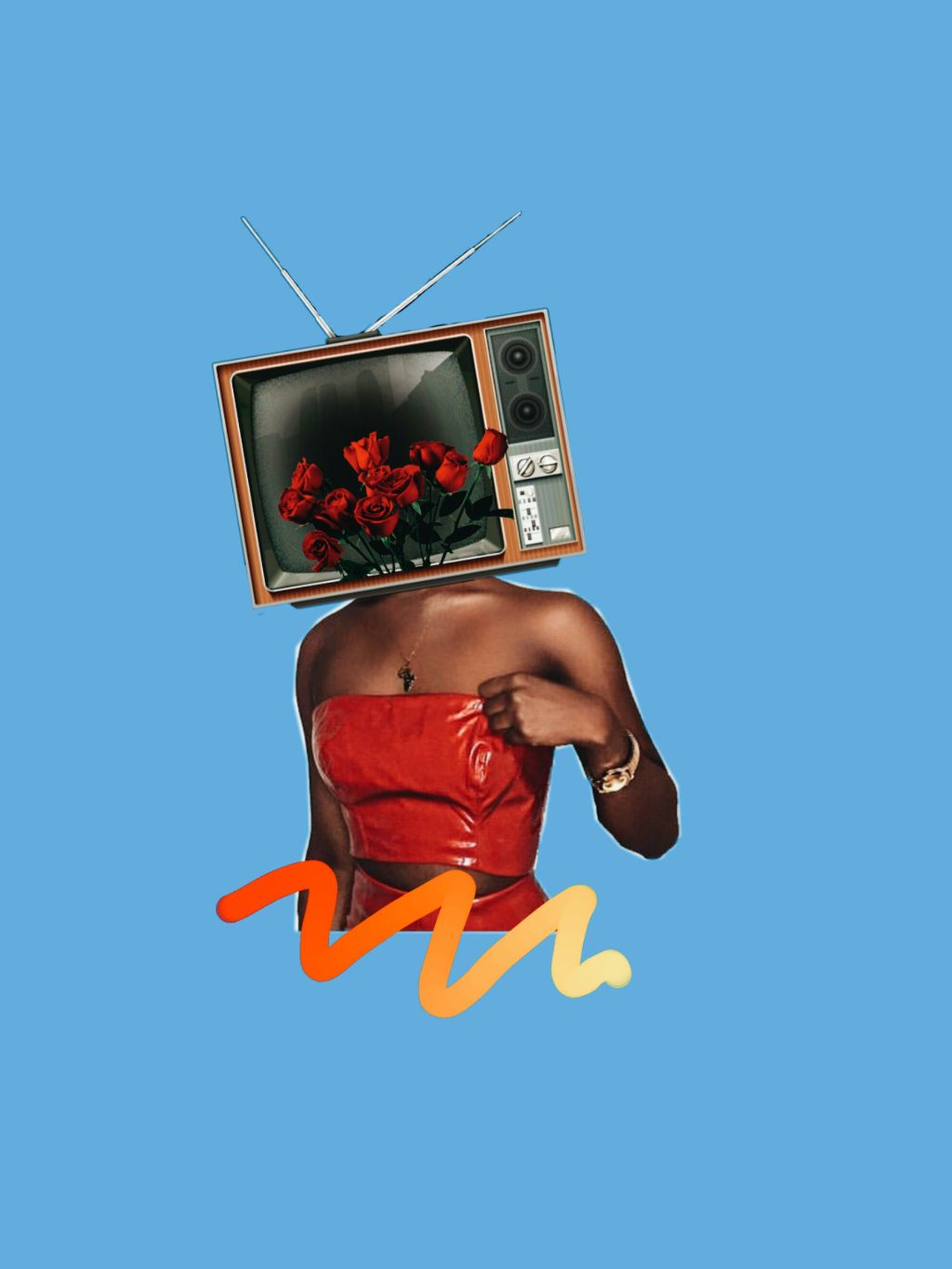 We don't believe what's on tv #freetoedit #collage #collageart #collageoftheday #surreal #woman #tv #twentyonepilotslyrics #red