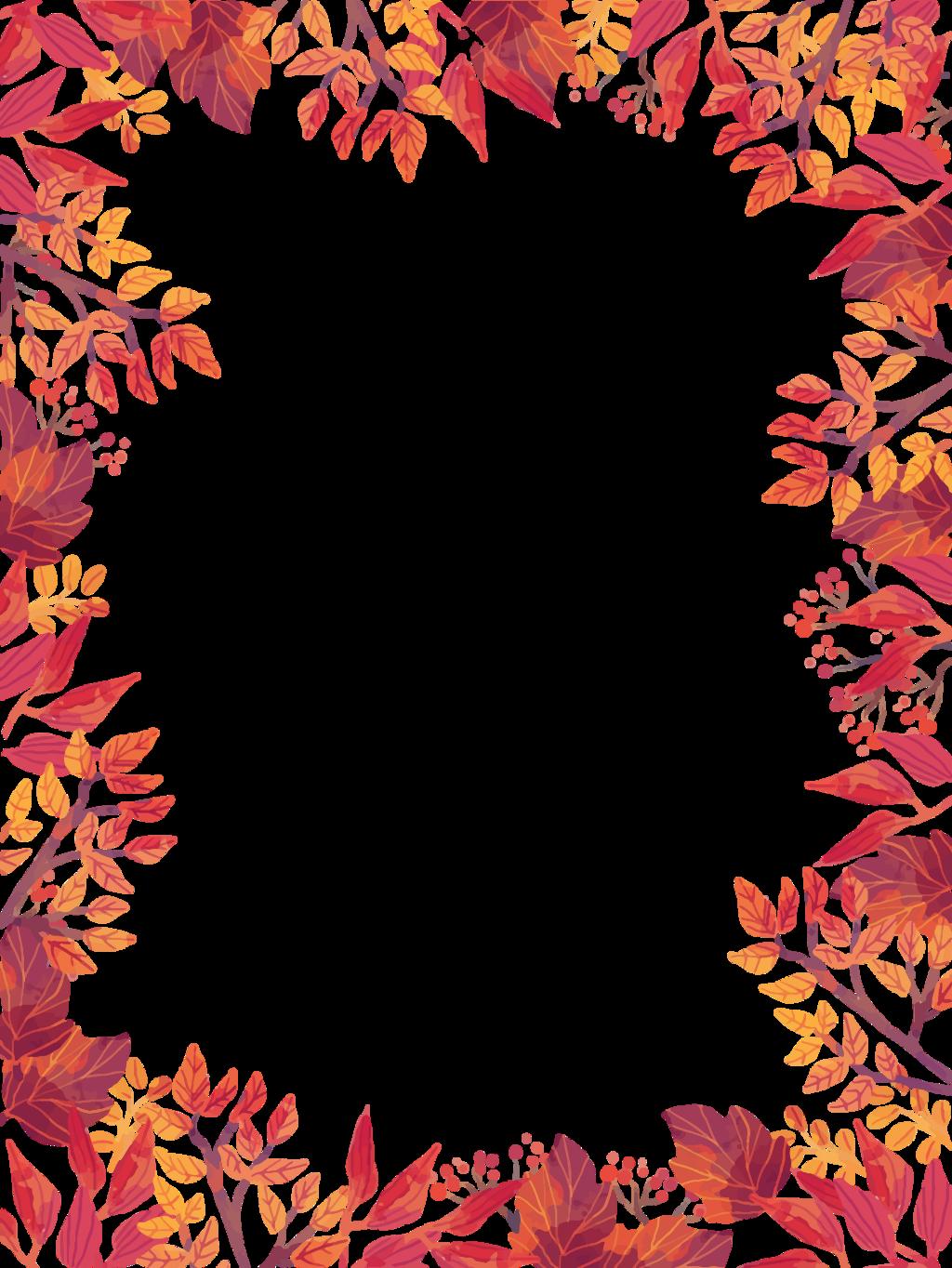 Анимашки, шаблон открытки осенние листья