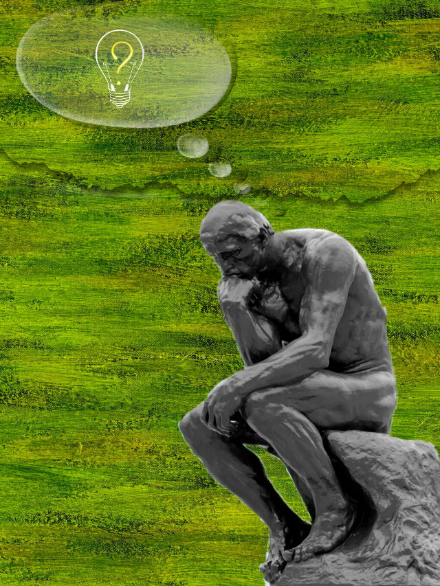 #freetoedit #fineartfriday #statue #thinker #ideas #thoughtbubble #humor #lol #cutouttool #squarefit #stickers #myedit #madewithpicsart