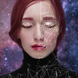 freetoedit girl polygon polygonart galaxy