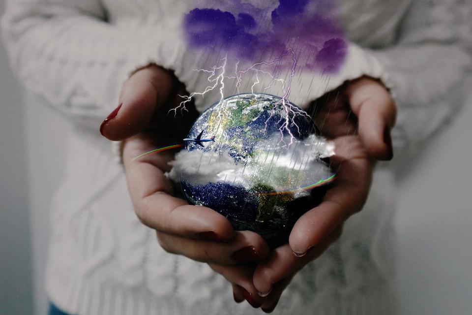 #freetoedit #hands #planet #airbus #rain #clouds #eart #земля #самолет #планета #руки #дождь #гроза
