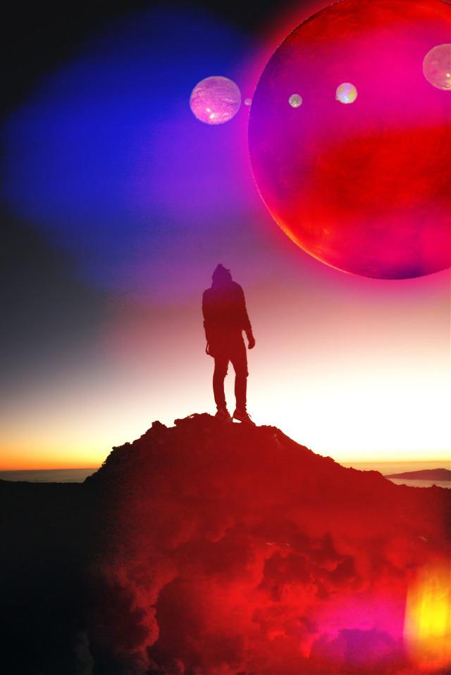 #freetoedit #remixit #remixed #picsart #mountain #guy #man #moon #planet #space #lighteffects