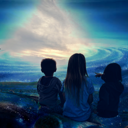 blue children galaxyedit surreal surrealism freetoedit