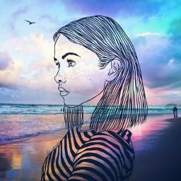 freetoedit tumblr sunset colurful girl irctumblroutline