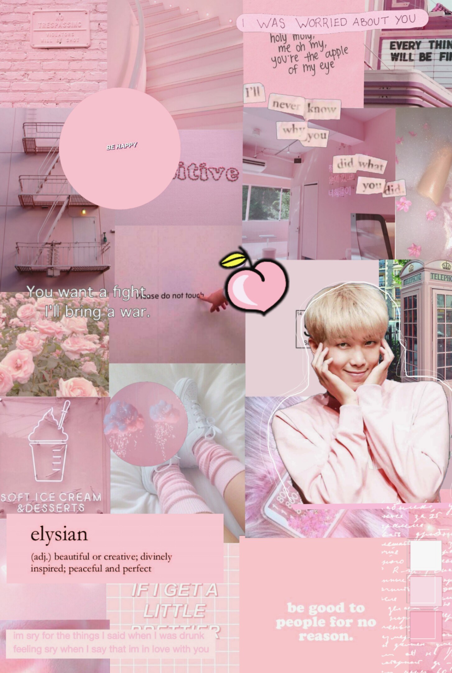 bts rm namjoon wallpaper pink aesthetic