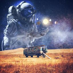 freetoedit doubleexposure galaxy astronaut planet