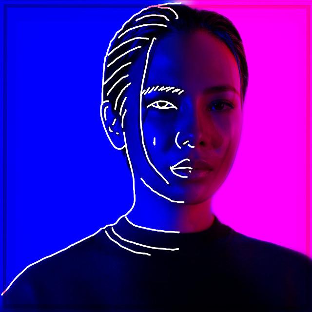 #freetoedit #drawing #girl #twocolours #tumblr #pink #blue