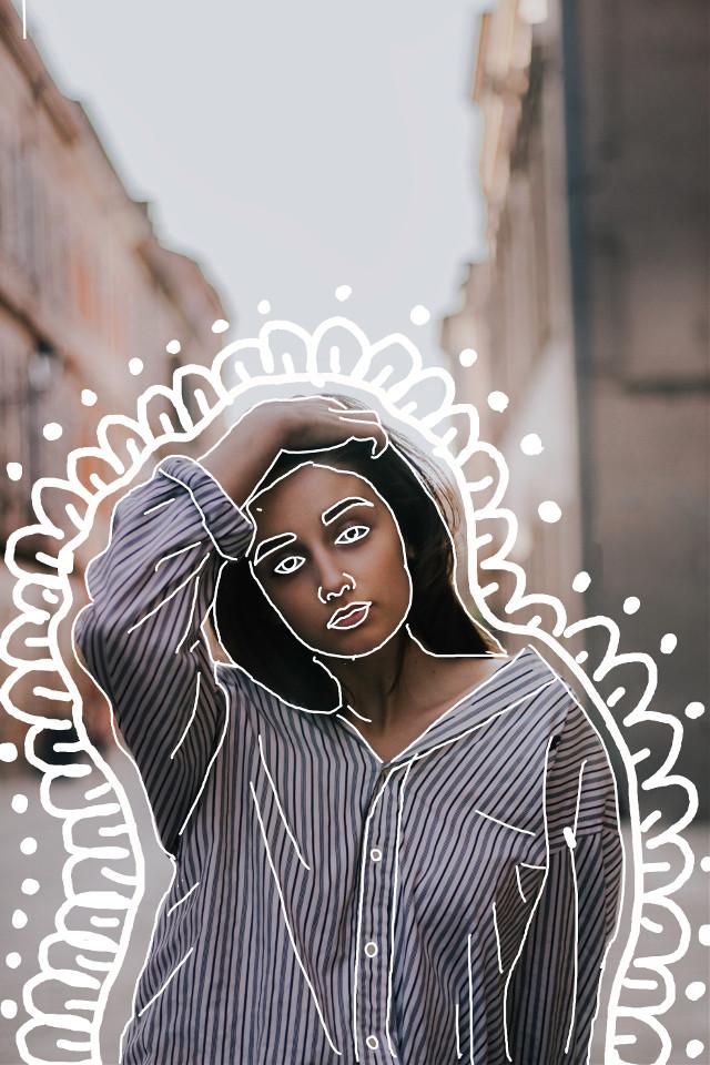 #freetoedit #drawing #whiteline #white #girl #tumblr