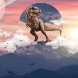 freetoedit dino trex dinosaur sun