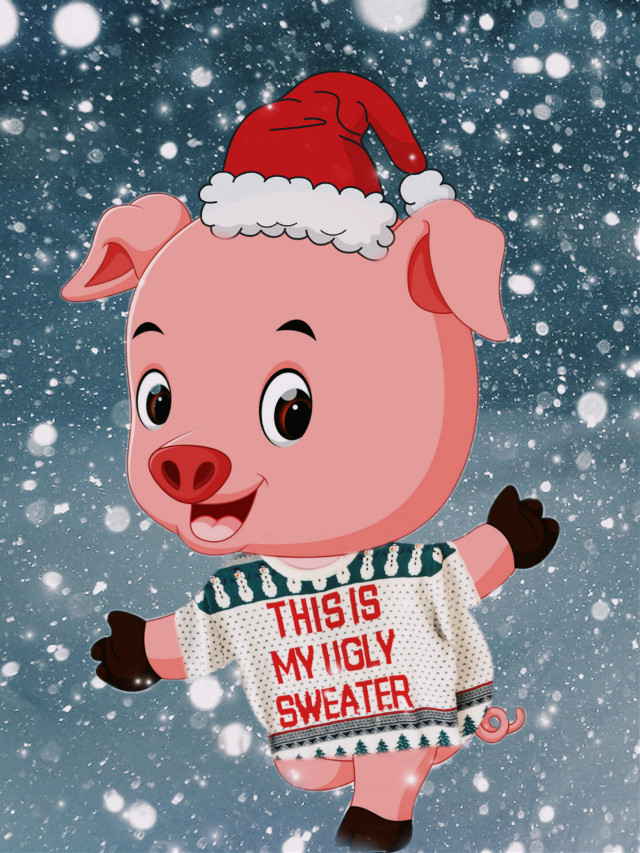 #freetoedit #ecchristmassweater #christmas #sweater #uglysweater #piggy #newyear #snow #playingwithpicsart