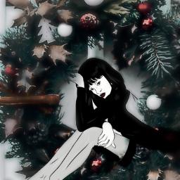 freetoedit vipshoutout wreath womansitting legs