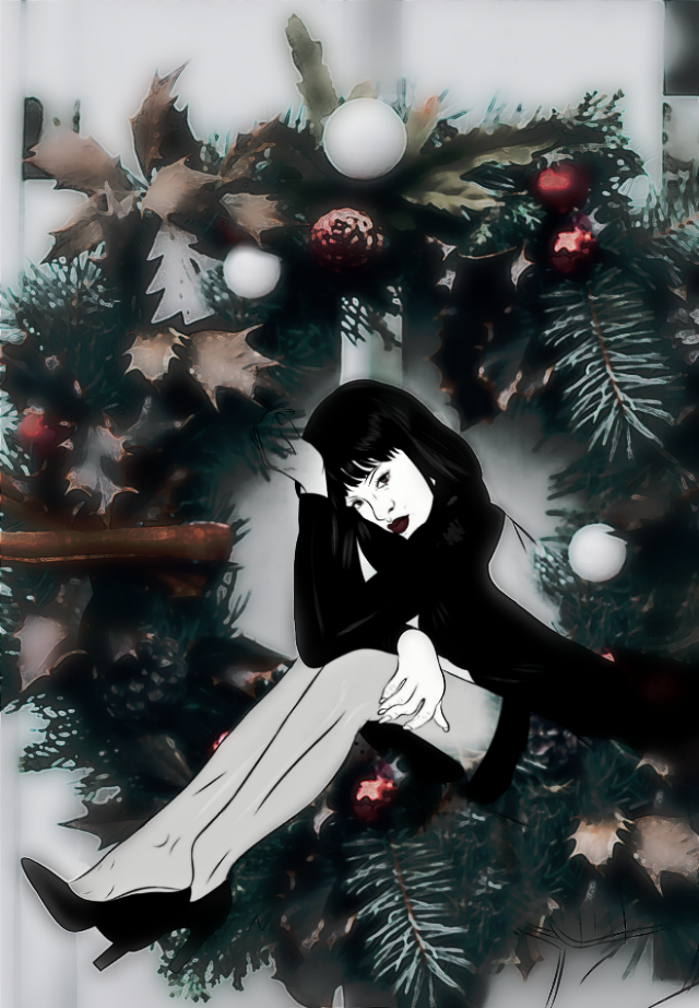Title...Holiday Mood  ;) #vipshoutout image from the VIP  shout out gallery of @neily_lobo  #wreath #womansitting #legs #emotions