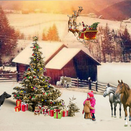 freetoedit farm farmanimals horses sheep ircwhitechristmas