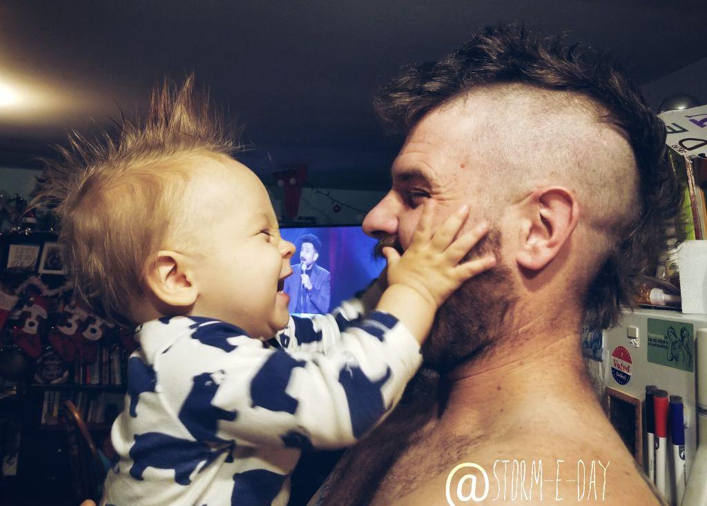 #fatherandson #mohawks #justlikedad #myboys #likefatherlikeson #myworld #blessedwiththebest #rosstheboss #11monthsold #stormEday