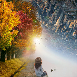 freetoedit cityscapes forest duck woman