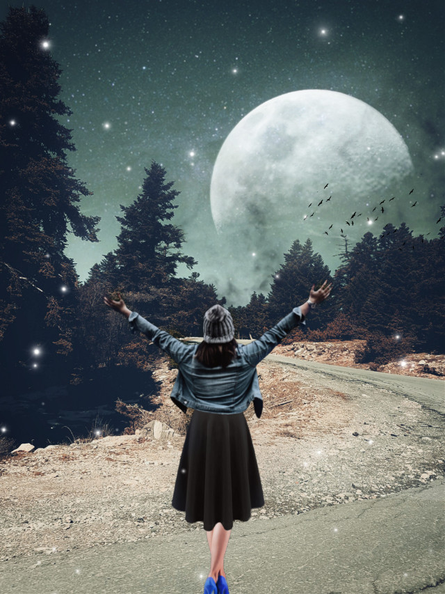#freetoedit #sky #stars #moon #doubleexposure #picsart #surreal #nature #smoke #birds #madewithpicsart
