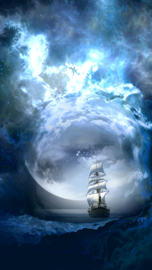 #freetoedit #vipshoutout to @davidmcelwee #adjusttool #hue  #fisheyeeffect #moon #ship #blue
