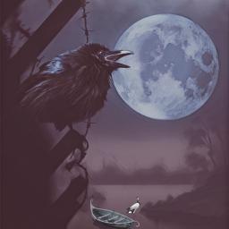 editbyme vipshoutout photomanipulation raven imagination moon art artwork remixed