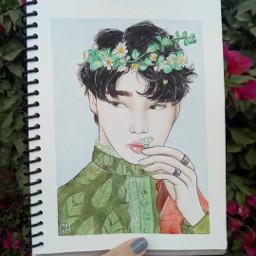 freetoedit boy watercolor draw green