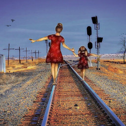 freetoedit railway people woman kids