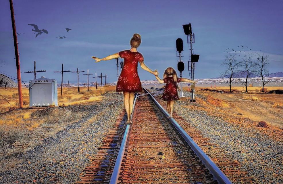 #freetoedit @pa @freetoedit #railway #people #woman #kids #girl #picsart