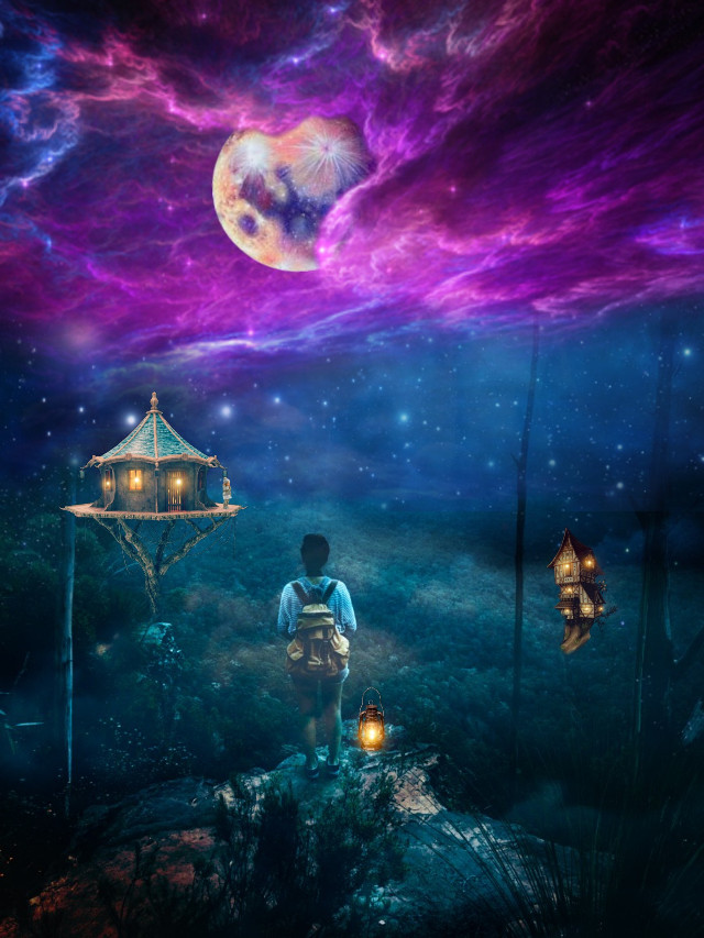 #freetoedit #treehouses #boy #girl #moon #forest
