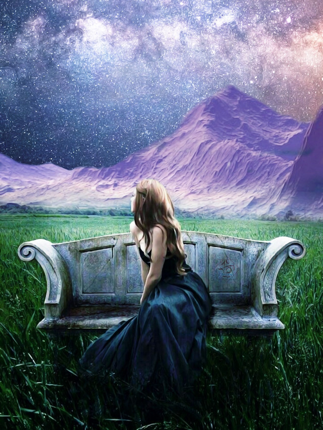 #freetoedit #women #galaxy #mountains #Meadow ##beautiful #photoart #oilpainteffect