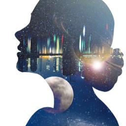 freetoedit doubleexposure overlay silhouette girl portrait galaxy night moon stars planets sky city reflection