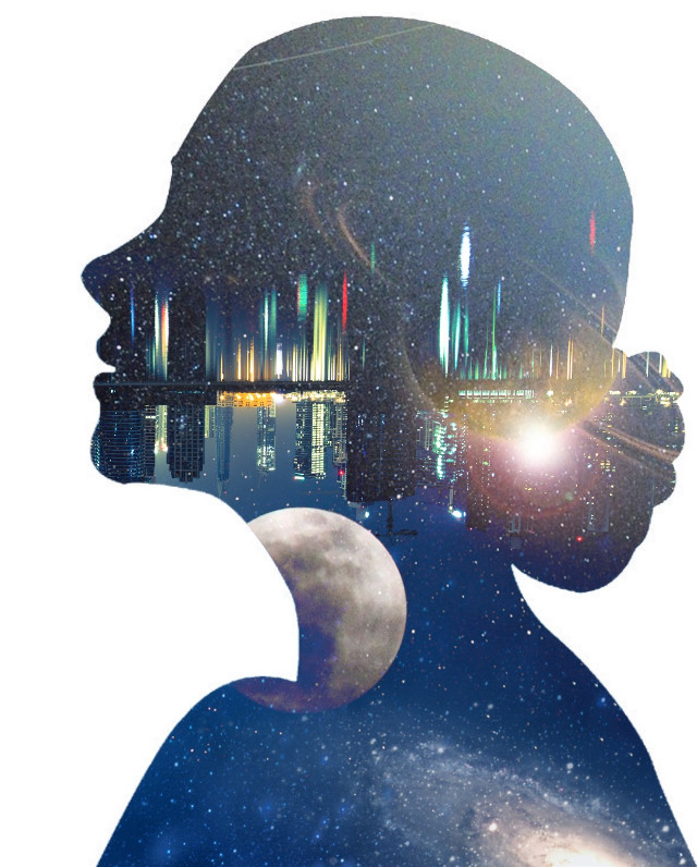#freetoedit #doubleexposure #overlay #silhouette #girl #portrait #galaxy #night #moon #stars #planets #sky #city #reflection  -- i am trying really hard to make my main feed look aesthetic but i'm struggling