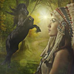 freetoedit horse woman indian myedit