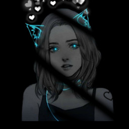 neon black blackneon catgirl freetoedit