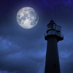 freetoedit moon clouds lighthouse background