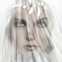 woman beautiful wedding veil digitalart