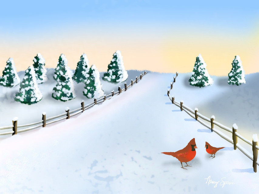 #dcwintertime #snow #fence #road #cardinals #mydrawing #blue  #freetoedit