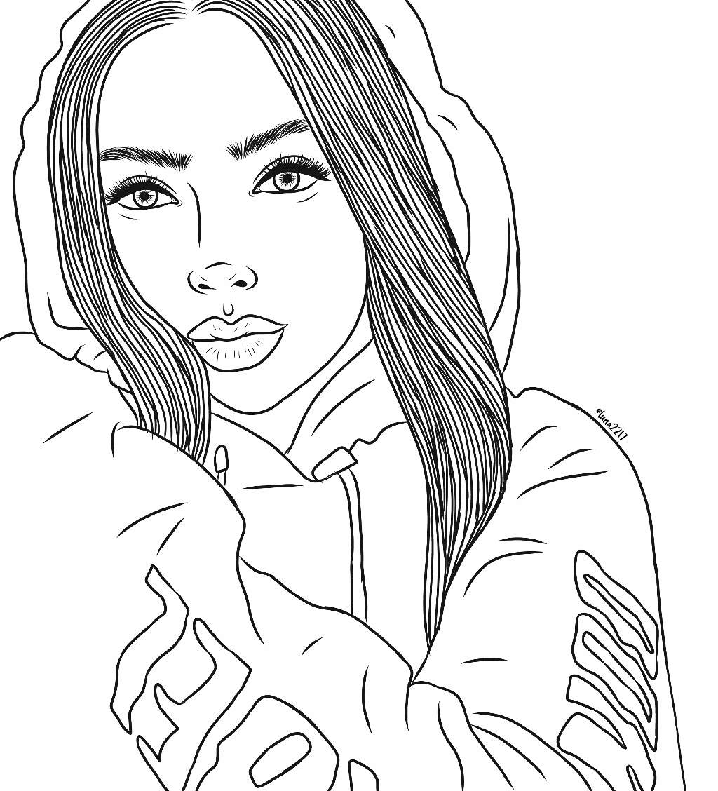 freetoedit girl drawing outlines