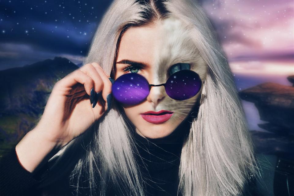 #freetoedit #ecdoubleface #dodgereffect   #girl #beautiful #contest #friday #sparklelightbrush #stars #cat #doubleexposure #cutouttool #adjusttool #erasetool #sunglasses #galaxy #face #hands