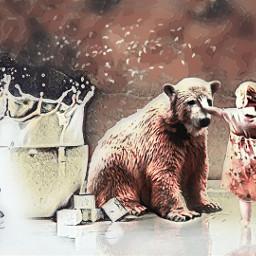 freetoedit imagine bear surreal littlegirl ircmilkandsugar
